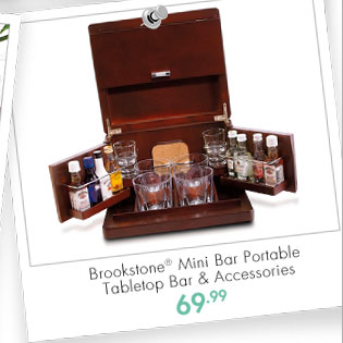 Brookstone® Mini Bar Portable Tabletop Bar & Accessories 69.99