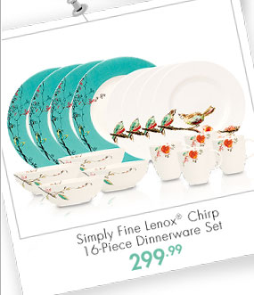 Simply Fine Lenox® Chirp 16-Piece Dinnerware Set 299.99