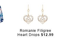 Romaine Filigree Heart Drops.