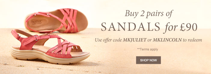 Buy 2 pairs of Sandals for £90**. Use offer code MKJULIET or MKLINCOLN