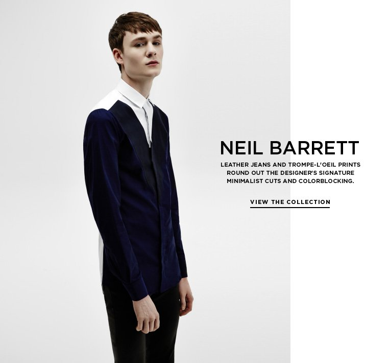 Graphic minimalism from Neil Barrett Leather jeans and trompe-l'oeil prints round out the designer's signature minimalist cuts and colorblocking.