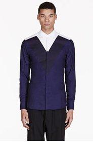 NEIL BARRETT Navy & white colorblocked shirt for men