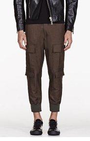 NEIL BARRETT GREEN CARGO PANTS for men