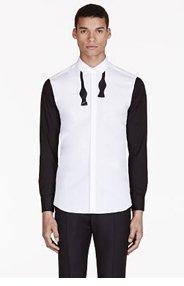NEIL BARRETT White BOW TIE print shirt for men