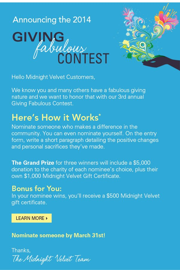 Announcing the 2014 Giving Fabulous Contest. Learn More