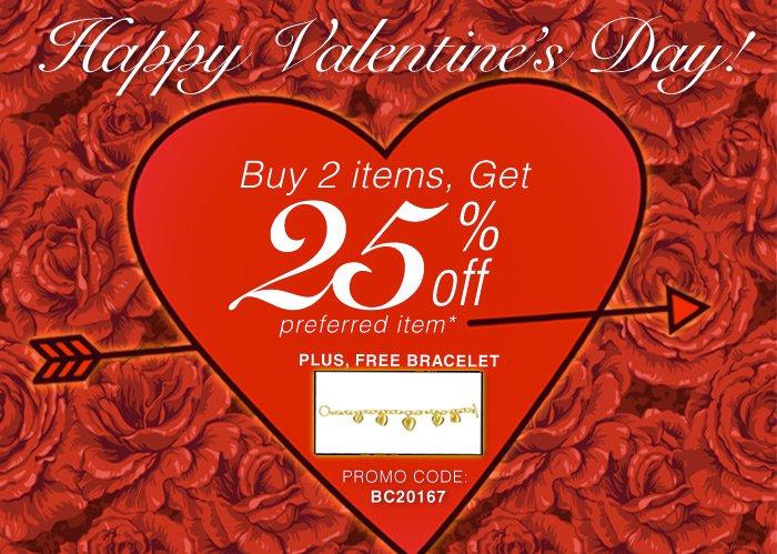 Happy Valentines Day! Buy 2 items, Get 25 off! Plus FREE Bracelet