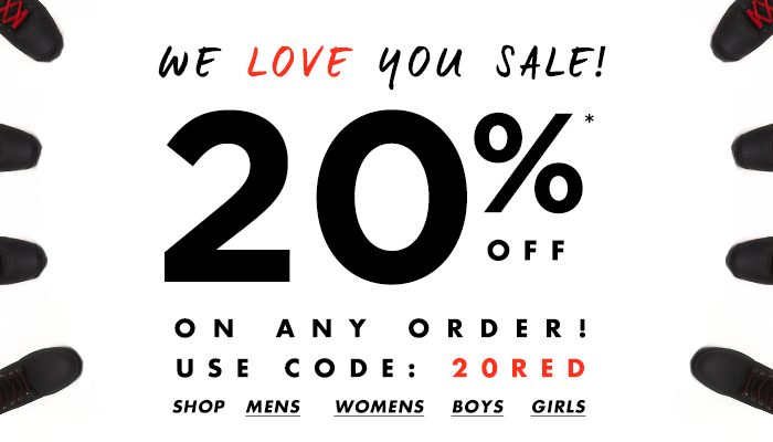 We Love You Sale! 20% OFF on any order use code:20red