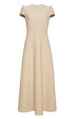 Wool Dress With Cape Cut Skirt