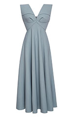 Dress With Half Cape Cut Skirt