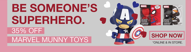 be someone's superhero.  35% off marvel munny toys.