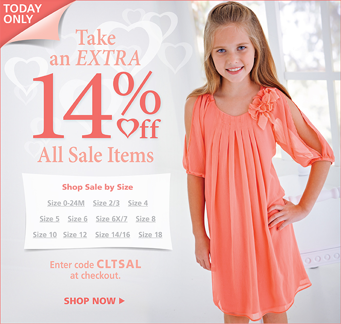 Take an extra 14% off all sale items with code CLTSAL at checkout