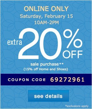 Extra 20% off. See details.