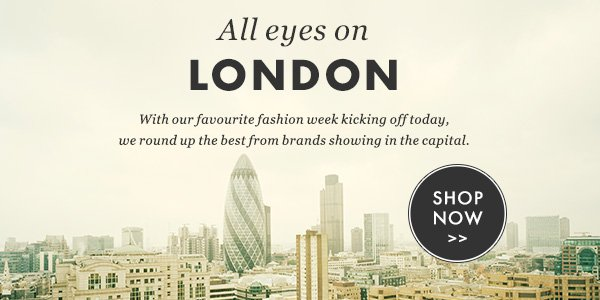 ALL EYES ON LONDON - With our favourite fashion week kicking off today, we round up the best from brands showing in the capital. SHOP NOW