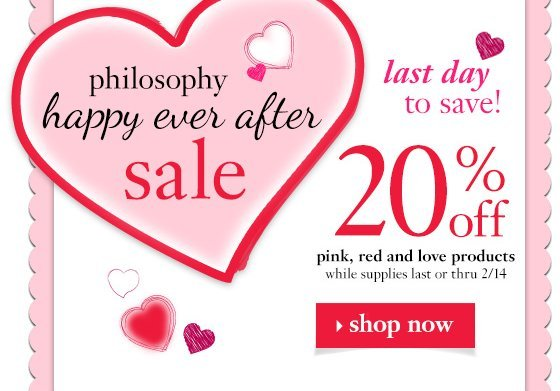 happy valentine's day! the love sale 20% off pink, red and love products while supplies last thru 2/14
