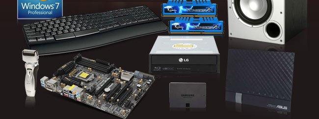 Win7, Speaker, Keyboard, Memory, ODD, Shaver, MB, SSD, Router.