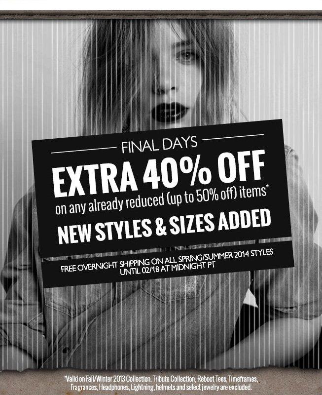 FINAL DAYS. EXTRA 40 PERCENT OFF on already reduced (up to 50 percent) items. New styles and sizes added.