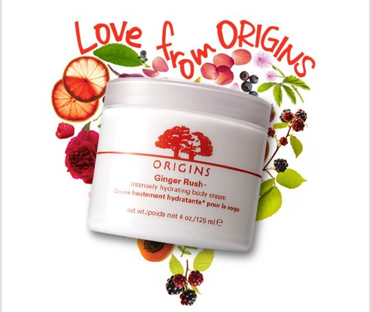 Love from Origins Ginger Rush Intensely hydrating body cream
