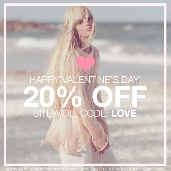 Save 20% this Valentine's Day at Boutique To You! Code: LOVE.