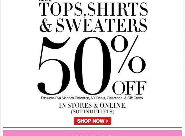 50% Off Tops!