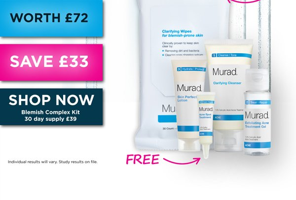 Save £33 on our 30 Day Blemish Complex Kit!