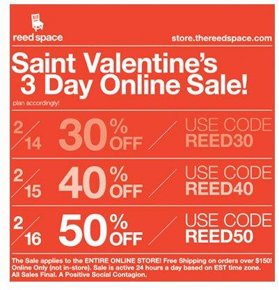 St. Valentine's 3-Day Online Sale!