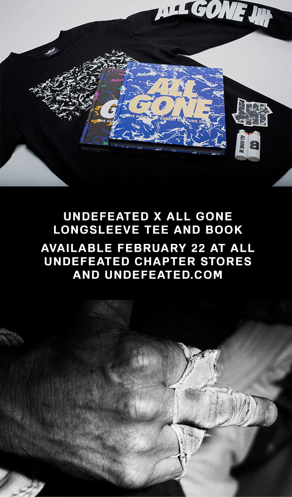 Undefeated x All Gone Long Sleeve Tee and Book Available February 22 At Undefeated Stores and Undefeated.com