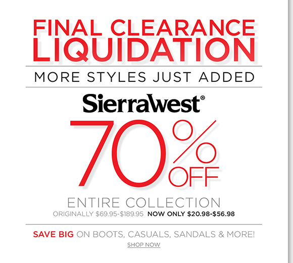 Final Clearance Liquidation! Save 70% on ALL Sierra West boots, casuals, sandals and more! Plus, save an extra 25% on ALL Sale & Clearance during our Presidents Day Sale! Hurry to find the best selection online and in stores at The Walking Company.