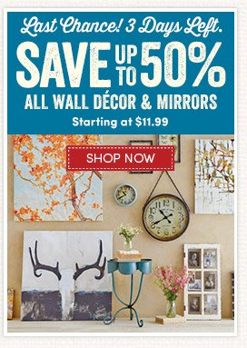 Save up to 50% on All Framed Art, Wall Decor & Mirrors