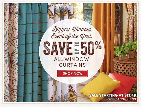 Save up to 50% on All Window Curtains