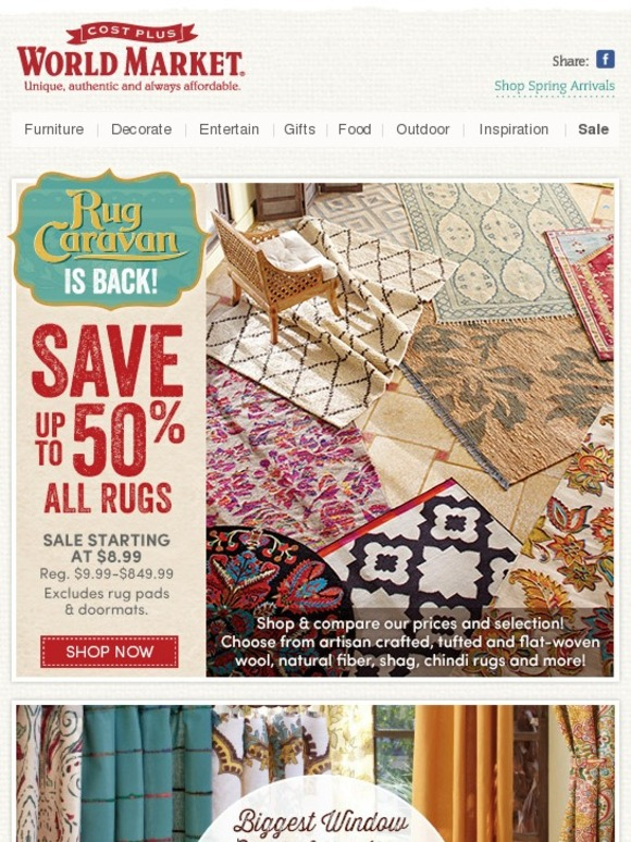 cost plus world market: president's day sale. save up to 50% rugs