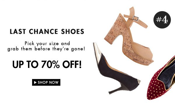 Last chance shoes up to 70% off!