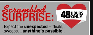 48 Hours Only - SCRAMBLED SURPRISE: Expect the unexpected - deals, sweeps...anything's possible.