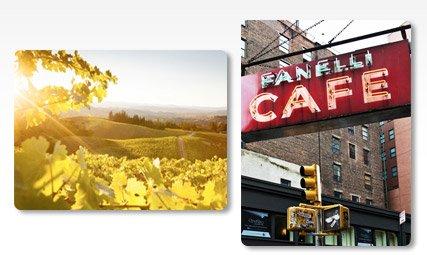 ADVERTISING - FANELLI CAFE - SOHO - MAHNATTAN - NEW YORK - UNITED STATES By: Philippe Hugonnard; HEALDSBERG, SONOMA COUNTY, CALIFORNIA: SUNSET ON NORTHERN CALIFORNIA VINEYARDS. By: Ian Shive
