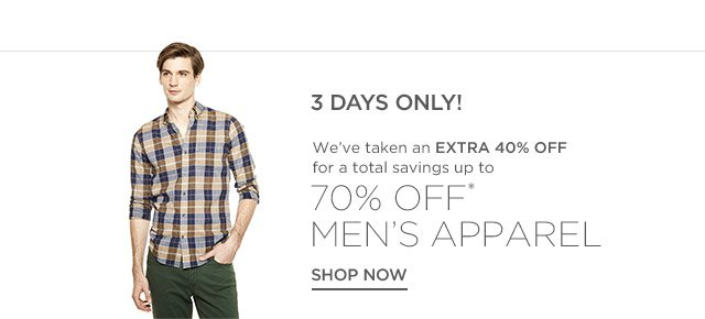Up to 70% off Men's Apparel