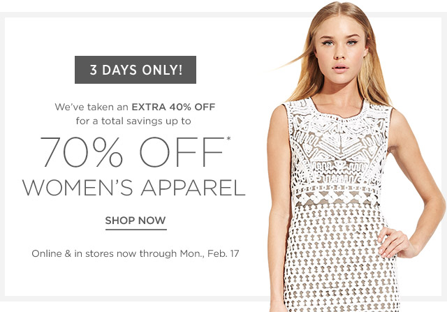 Up to 70% off Women's Apparel