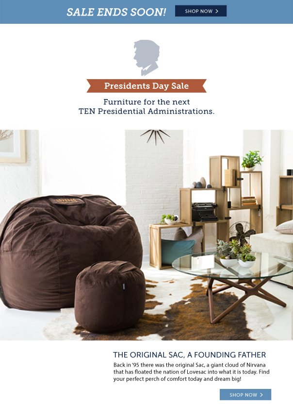 Sale Ends Soon! Presidents' Day Sale - Furniture For the Next Ten Presidential Administrations!