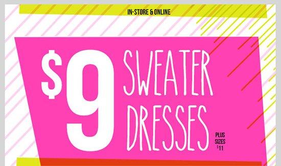 Sweater Dresses - $9! Plus Sizes - $11! Shop Now!