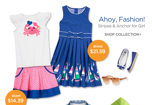 Ahoy, Fashion! Stripes & Anchor for Girl. Shop Collection. Dress $21.59. Skort $14.39.