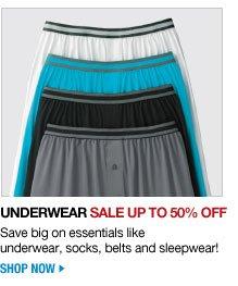 underwear sale up to 50 percent off - save big on essentials like underwear, socks, belts and sleepwear! - shop now
