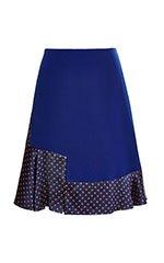 Floral Foulard Jacquard Fluted Hem Skirt