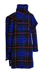 Plaid Wool Funnel Neck Coat