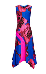 Printed Floral Silk Scarf Hem Dress