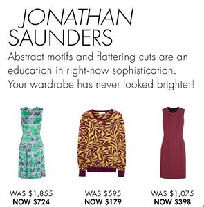 JONATHAN SAUNDERS UP TO 60% OFF