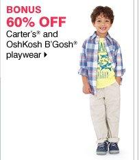 60% off Carter's and OshKosh B'Gosh playwear