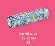 barrel case taking tea