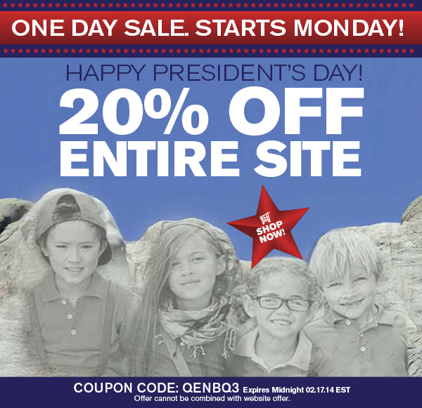 Use Coupon Code QENBQ3. Valid through midnight EST 2.17.14. Offer cannot be combined with website offers.