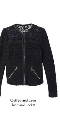 Quilted and Lace Jacquard Jacket