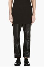 ANN DEMEULEMEESTER Black LEATHER woven-cuff TROUSERS for men