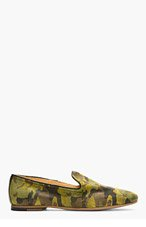 H BY HUDSON Green Suede Camo Safi Loafers for men