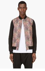 MIHARA YASUHIRO Coral & purple feather print bomber jacket for men